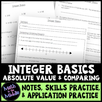 Integer Basics: Absolute Value & Comparing - Notes, Practice, & Application Pack