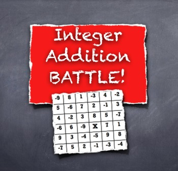 Integer Battle!  Adding Integers Competitive Game is a Winner With Students!