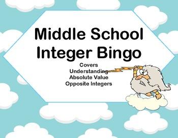Integer Bingo-Absolute Value and Opposites- Middle School-Greek Gods