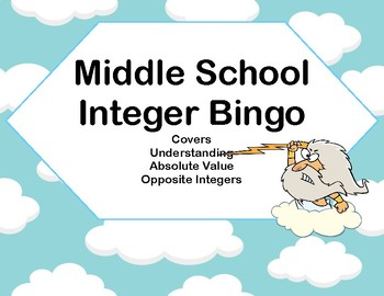 Integer Bingo-Absolute Value and Opposites- Middle School-Greek Gods
