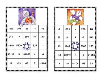 Integer Bingo-Absolute Value and Opposites- Middle School-Halloween