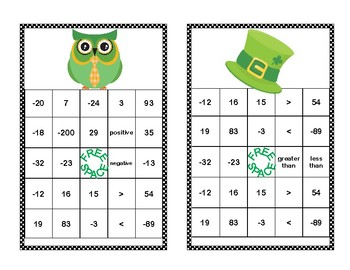 Integer Bingo-Absolute Value and Opposites- Middle School-St. Patrick's Day