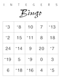 Integer Bingo Cards and Questions