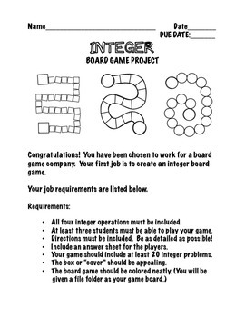 Integer Board Game Project