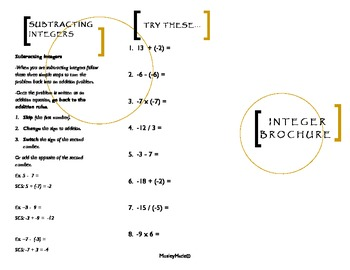 Integer Brochure For Your Math Interactive Notebook-CCSS Aligned