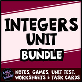 Integers Bundle - Notes, Games, Task Cards, Test, & Differentiated Worksheets