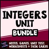 Integers Bundle - Notes, Games, Task Cards, Test, & Differentiated Worksheets