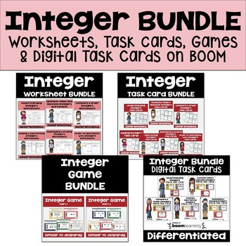 Integer MEGA Bundle (Worksheets, Task Cards and Games)