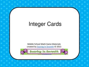 Integer Cards -15 thru 16