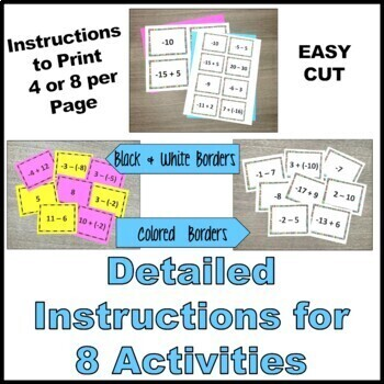 Adding and Subtracting Integers Task Cards and Games