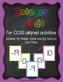 Integer Cards with 6 Activities! Partner Games and Whole Class Practice