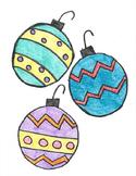 Integer Christmas Ornaments Coloring Sheet