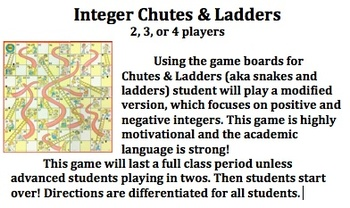Integer Chutes and Ladders GAME