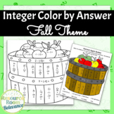 Integer Operations Color by Answer Autumn Theme