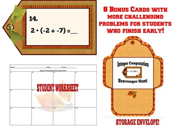 Integer Computation Mixed Review Scavenger Hunt + Free Order of Operation Cards