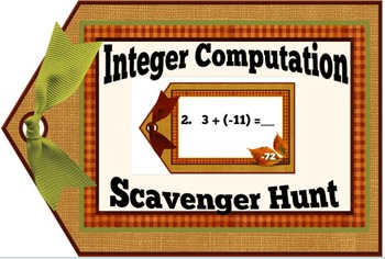 Integer Computation Mixed Review Scavenger Hunt + Free Ord