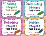 Integer Computation Task Card BUNDLE- add, subtract, multiply and divide