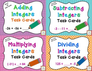 Integer Computation Task Card BUNDLE- add, subtract, multiply and divide