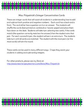 Integer Concentation Cards