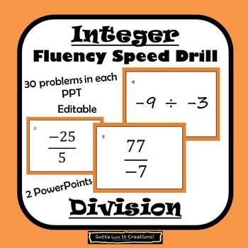 Editable Integers Division Fluency - 2 PowerPoints