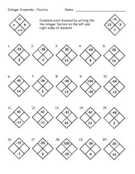 Free Math Worksheets To Work Online Diamond Problems Worksheet ...