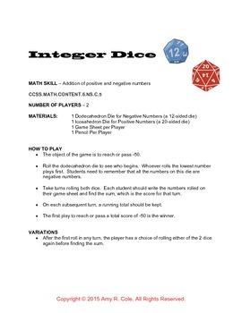 Integer Dice Game