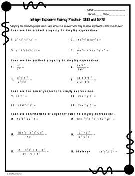Integer Exponent Fluency Practice:  No Prep Fluent In Math Series