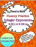 Integer Exponent Fluency Practice:  No Prep Fluent In Math Series
