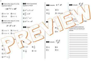 Integer Exponents (Proof & Properties of Exponents) Flip Book, PPT, Practice