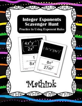 Integer Exponents Scavenger Hunt