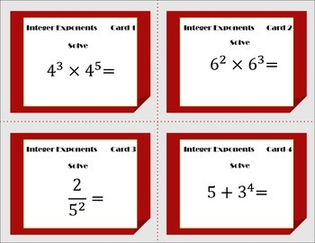 Integer Exponents Task Cards