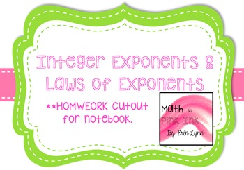 Integer Exponents and Laws of Exponents Homework PDF 8.EE.1