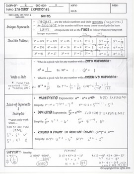 Integer Exponents and Laws of Exponents Notes PDF 8.EE.1