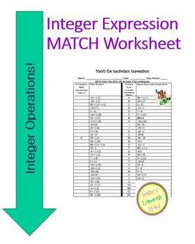 Integer Expression Match - Worksheet or Assessment
