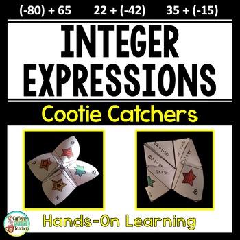 Adding Positive and Negative Integers Cootie Catchers - No Prep