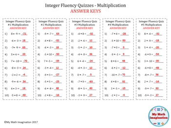 Integer Fluency Quizzes  - 4 weeks worth of timed quizzes with answer keys!