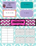 Integer Fluency with Order of Operations - Bingo or Task Cards Editable