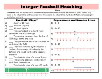 Integer Football - Simulation Activity