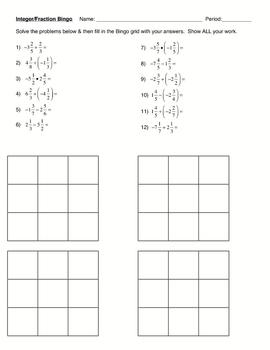 Integer-Fraction Bingo