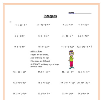 Adding Integers Game with Power point