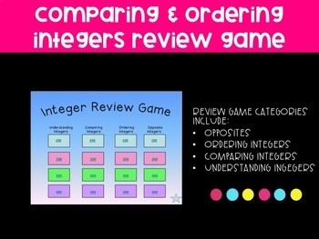 Order and Comparing Integer Review Game