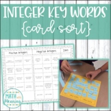 Integer Key Words Card Sort Activity - Includes Interactive Notebook Page