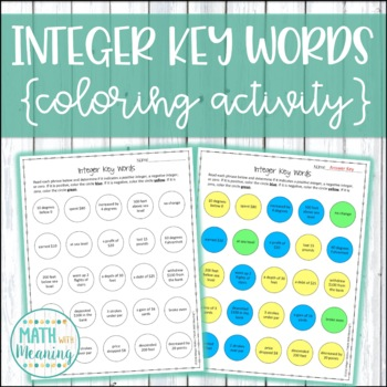 Integer Key Words Coloring Worksheet