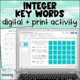 Integer Key Words DIGITAL Card Sort Activity for Google Drive & OneDrive
