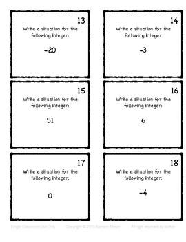 Integer Language Task Cards