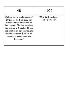 Integer Loop Question Activity