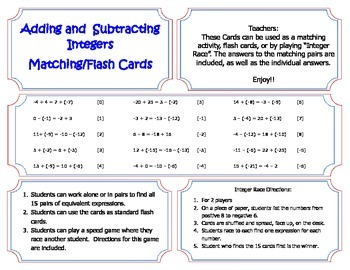 Integer Matching Cards (Add & Subtract)