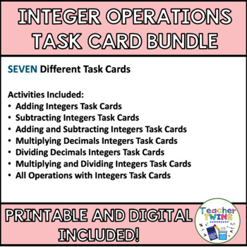 Integer Task Card Bundle CCS 7.NS.1 and 7NS.2