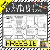 Integer Math Maze Freebie