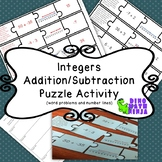 Integer Math Puzzle Match- 7.NS word problems and number lines